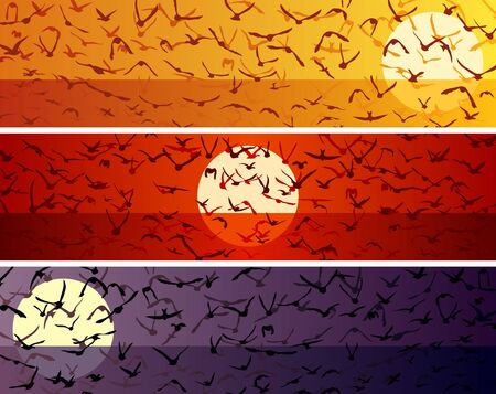 Illustration pour Set of simple horizontal banners with a flock of birds at sunset over the sea surface. - image libre de droit