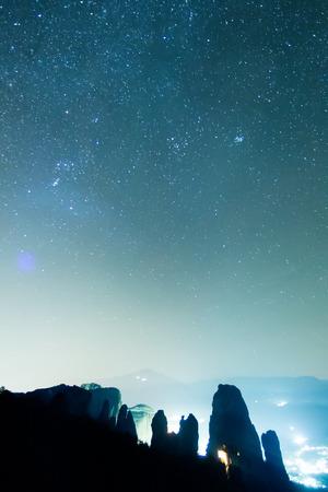 Starry sky seen from Meteora Greece
