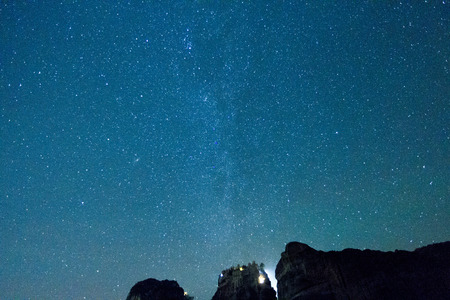 Starry sky seen from Meteora Greece
