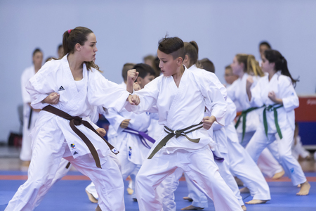 Thessaloniki, Greece, Oktober18 2015: Demonstration by men and women faculties of Japanese traditional martial arts, judo, karate, aikido, kendo