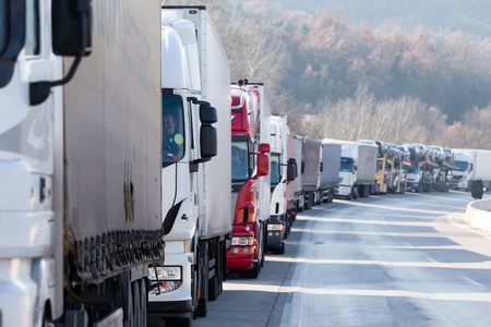 Promachonas, Greece - February 7, 2016 :International transport trucks are blocked  from the border crossing of Promachonas between Greece and Bulgaria, as farmers set up a blockade at customs offices.