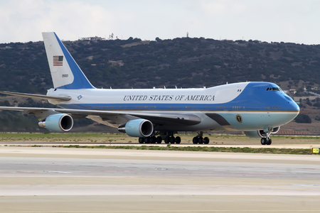 Photo for Athens, Greece, November 15, 2016: The Air Force One lands at the Athens International Airport Eleftherios Venizelos. President Barack Obama arrived in Greece - Royalty Free Image