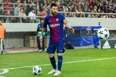 Piraeus, Greece - October 31, 2017: Player of Barcelona Lionel Messi during the UEFA Champions League game between Olympiacos vs FC Barcelona at Georgios Karaiskakis stadium