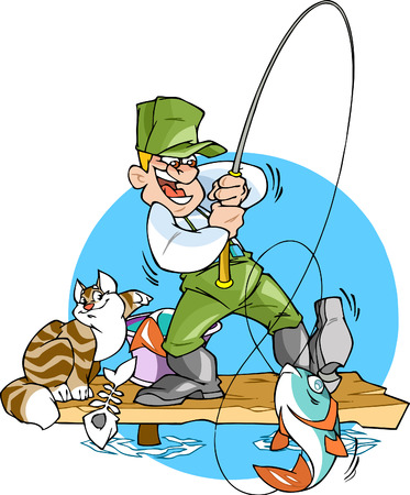 A fisherman catches a fish.He is holding a fishing rod with a big fish.Cat steals from a bucket  fish.