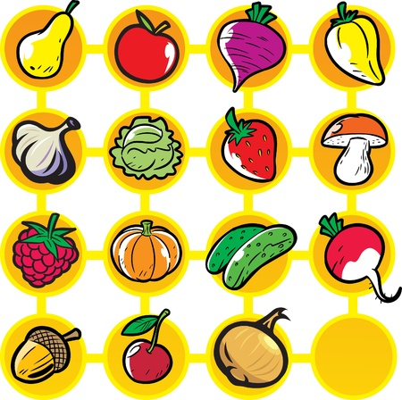 Fruits and vegetables on a yellow and white background.
