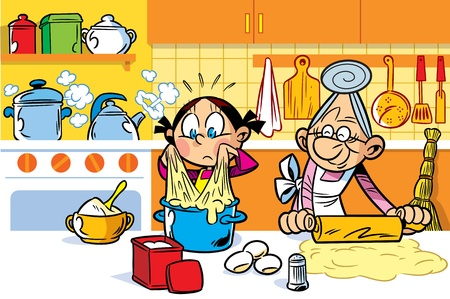 Little granddaughter helps an elderly grandmother to cook in the kitchen.She is learning to knead dough.