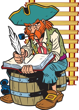 The illustration presented a pirate captain.He sits on the barrel and makes an entry in the logbook.Illustration done in cartoon style.