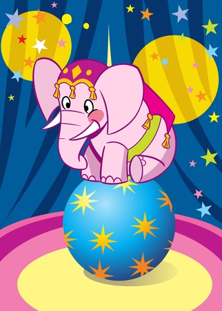 Pink baby elephant performance in circus. He is dancing on the big blue ball.Illustration done on separate layers.