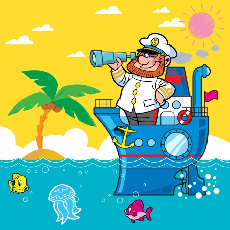 Cartoon captain on a ship sailing on the sea .. He looks through his binoculars. Against the backdrop of beach and palm trees.