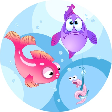 The illustration shows two colored fish. They are looking at a hook with a funny worm.Illustration done in cartoon style, on separate layers.