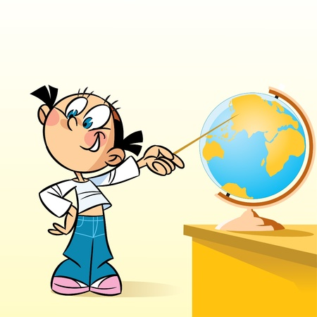 The illustration shows the schoolgirl near the table. She points at the globe