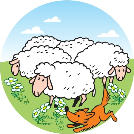 The illustration shows a flock of sheep that graze on a green meadow