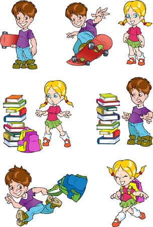 The illustration shows the characters of schoolchild, it s a boy and a girl  The boy board for skateboard and school bag  Girl with a briefcase near a pile of books  Illustration done in cartoon style, on separate layers