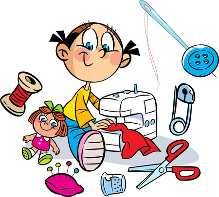 The illustration shows a little girl who sews on the sewing machine dress for the doll  Near it shows the various items for sewing  Illustration done in cartoon style, on separate layers