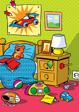 The illustration shows the interior of a children s room with toys  Illustration done in cartoon style