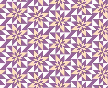 seamless geometric pattern of yellow and purple florets