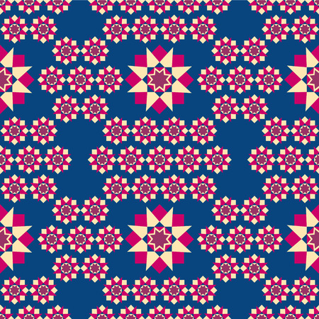 the illustration shows the seamless geometric pattern red, yellow squares and stars on a blue background.