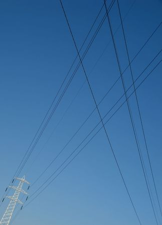 High voltage wires crossing