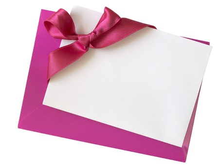blank pink paper note with ribbon