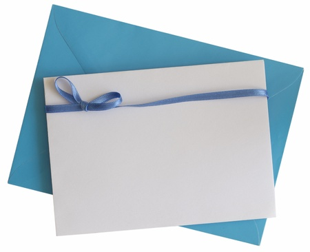 blank blue paper note with ribbon