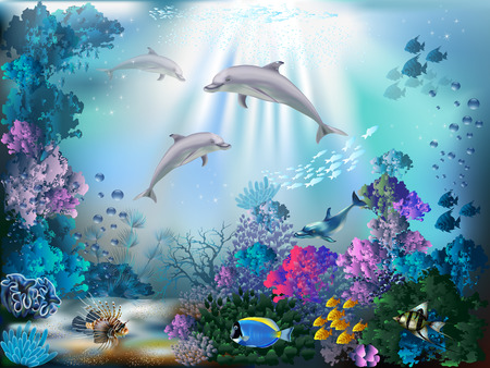 Illustration pour The underwater world with dolphins and plants - image libre de droit