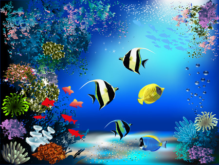 Illustration pour The underwater world with fish and plants - image libre de droit