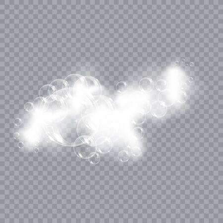 Illustration pour Bath foam soap with bubbles isolated vector illustration on transparent background. Shampoo and soap foam lather vector illustration. - image libre de droit