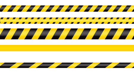 Illustration for Police tape, crime danger line. Caution police lines isolated. Warning tapes. Set of yellow warning ribbons. Vector illustration on white background. - Royalty Free Image