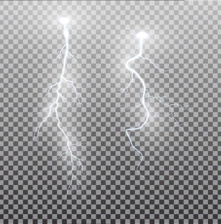 Photo for White realistic lightning. Thunder spark light on transparent background. Illuminated realistic path of thunder and many sparks. Bright curved line. - Royalty Free Image