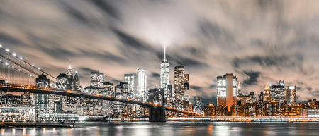 long exposure photograph of downtown manhattan with rush hour traffic