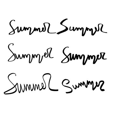Illustration pour Summer hand drawn brush letterings. Summer typography - summer. - image libre de droit