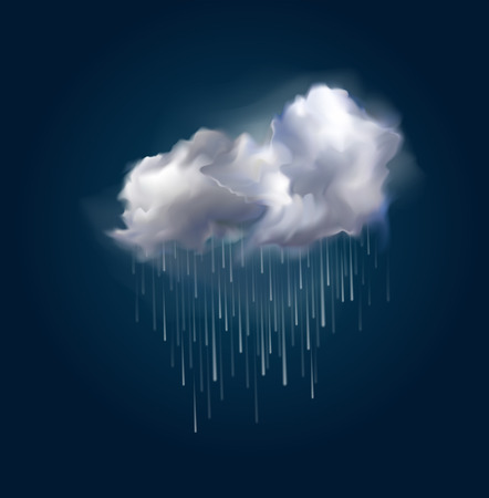Very realistic vector cloud and rain, possible to change the size.のイラスト素材