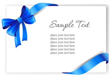 Ilustración de Greeting card with a blue ribbon. - Imagen libre de derechos