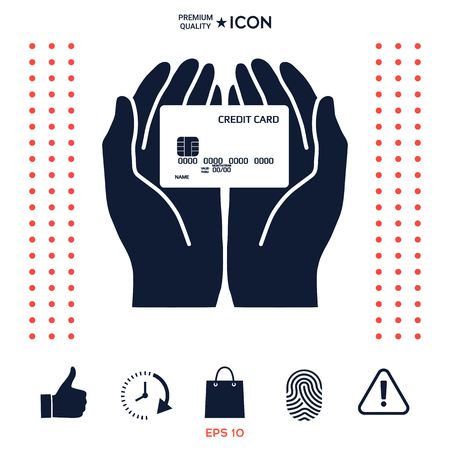 Hands holding credit card. Icon