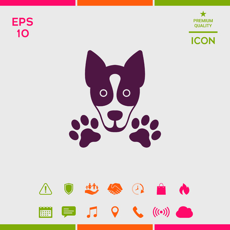 Dog, paw - logo, symbol, protect sign