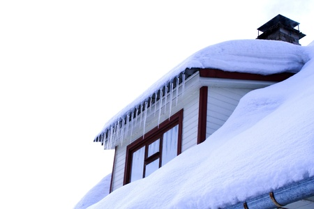 cold winter house with wondow close up