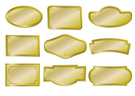 Illustration pour Set of golden metal plates and signs. Vector illustration. - image libre de droit