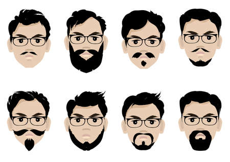 Illustration for Set of men s faces with glasses, beard and hairstyles. - Royalty Free Image