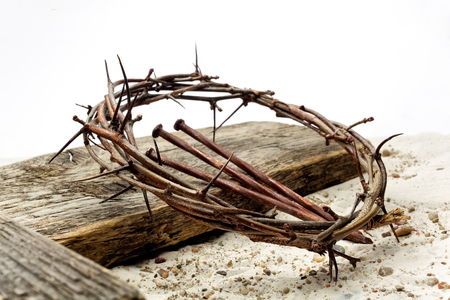 Photo for Jesus Crown Thorns and nails and cross on sand. Vintage Retro Style. - Royalty Free Image
