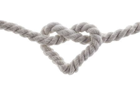 Photo pour heart shape knot of rope isolated on white background - image libre de droit