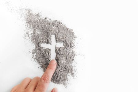 Photo for Cross made of ashes, Ash Wednesday, Lent season abstract background - Royalty Free Image