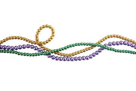 Photo for Three colors mardi gras beads for decoration isolated ob white background - Royalty Free Image