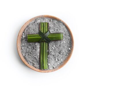 Photo for Ash wednesday, crucifix made of ash, dust as christian religion. Lent beginning - Royalty Free Image
