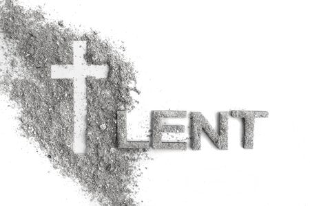 Photo for Lent word written in ash, dust as fast and abstinence period concept. Top view - Royalty Free Image