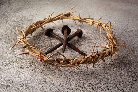 Photo pour Jesus Christ Crown of thorns with three nails. Religion background. Easter symbol. Crucifixion Of Jesus Christ. - image libre de droit
