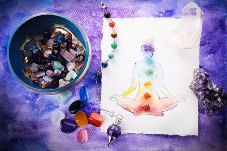 Photo for Reiki Healing chakra background, with watercolor painting and healing stones. Yoga, meditation concept. - Royalty Free Image