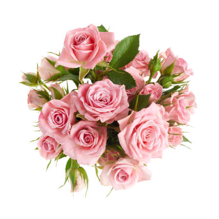Photo pour Beautiful pink rose flowers arrangement isolated on white background - image libre de droit