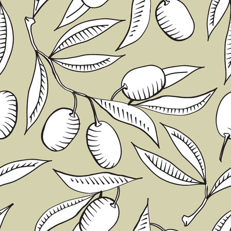 Illustration pour Seamless pattern with Olive branch and white olive - image libre de droit