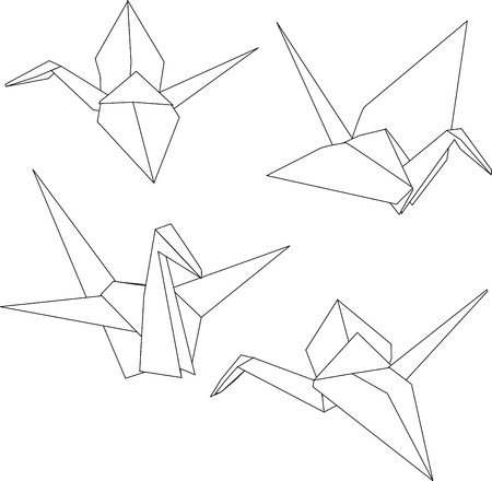 Illustration for Traditional Japanese origami paper cranes  - Royalty Free Image