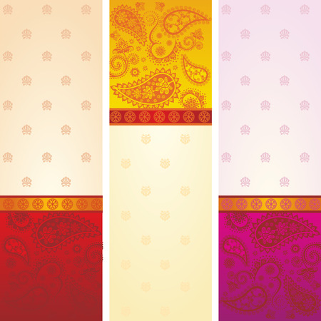 Set of 3 colorful traditional Indian saree paisley design banners with space for text